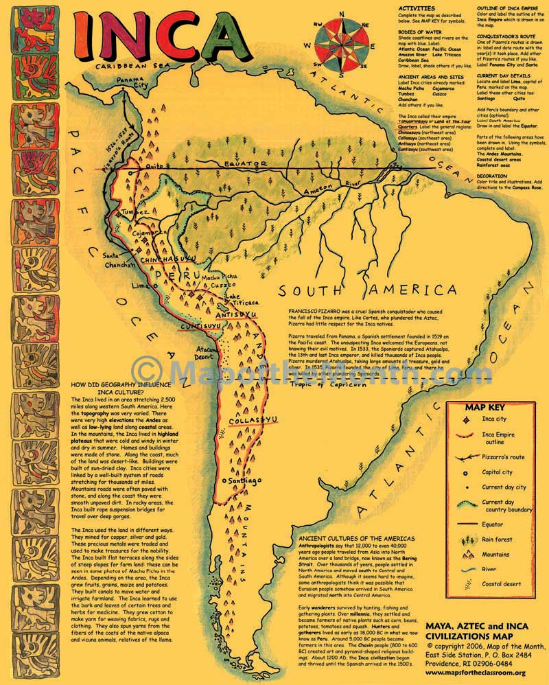 Maya/Aztec/Inca Map - Maps for the Classroom