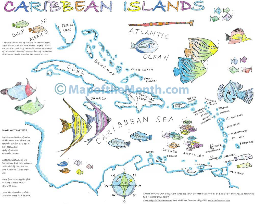 Caribbean Islands Maps For The Classroom - Map of caribbean islands