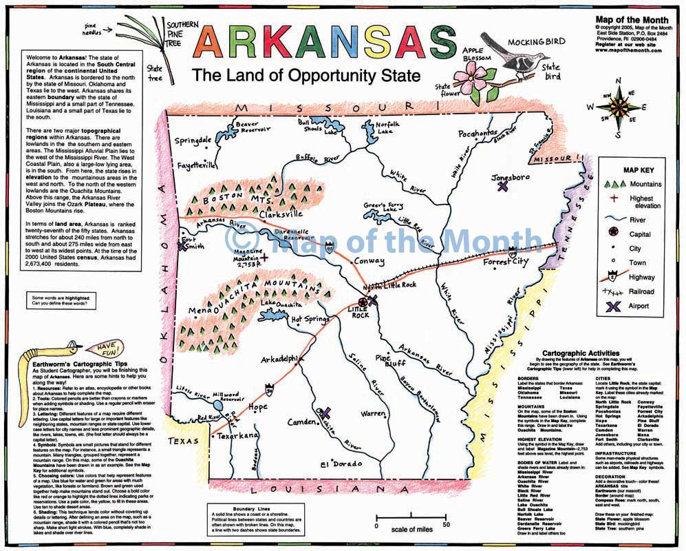 Arkansas World Map.Arkansas Map Blank Outline Map 16 By 20 Inches Activities Included