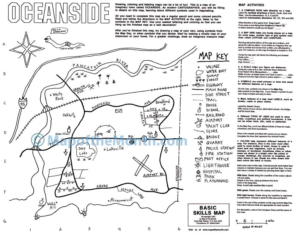 Basic Map Skills Blank Outline Map 16x20 Inches Activities Included