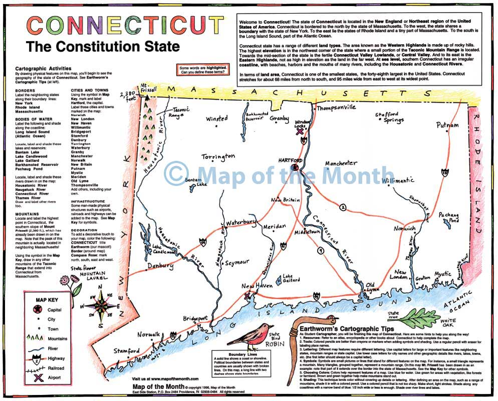 Connecticut map Blank outline map 16 by 20 inches activities