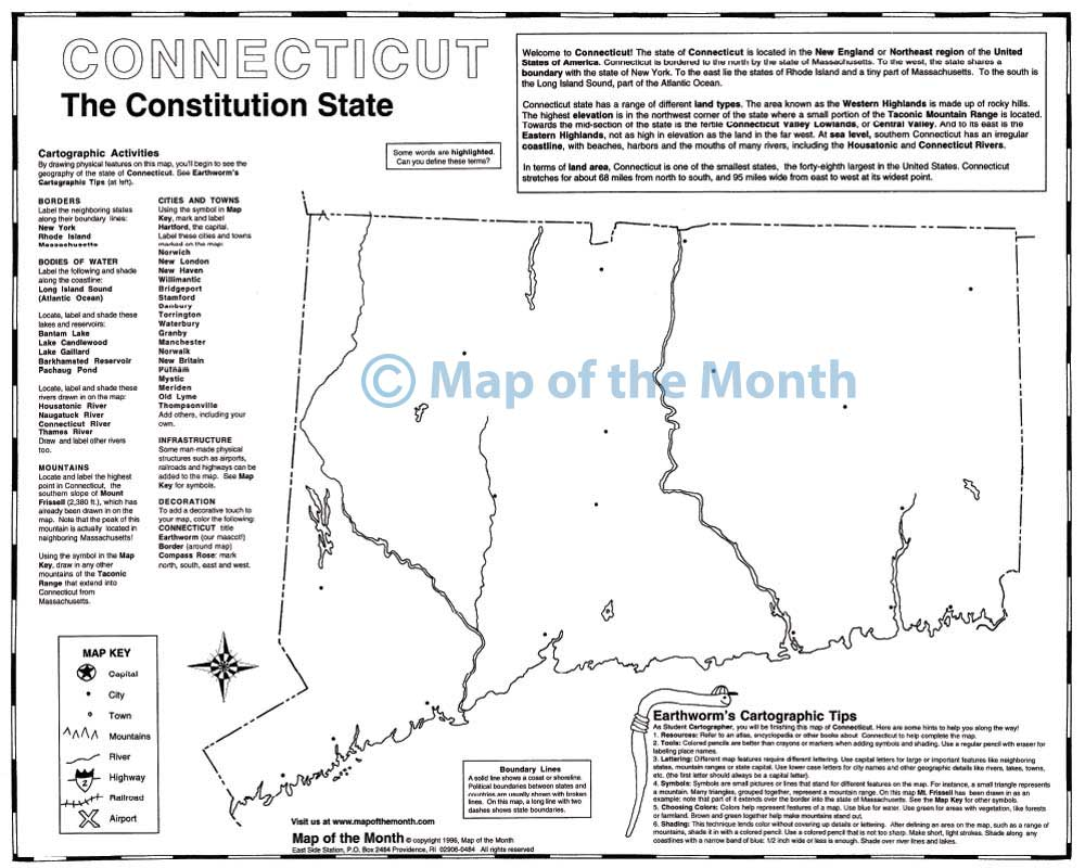 Connecticut map blank outline map 16 by 20 inches activities connecticut map blank outline map 16 by 20 inches activities included publicscrutiny Choice Image