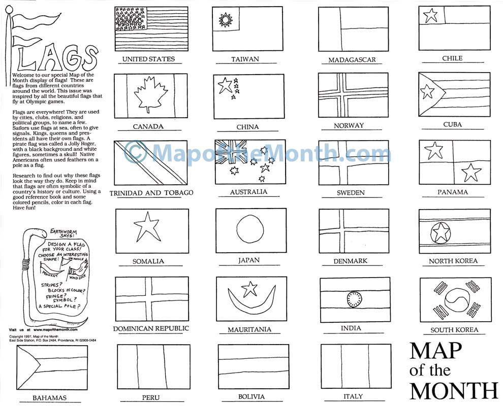 flags of the world map maps for the classroom