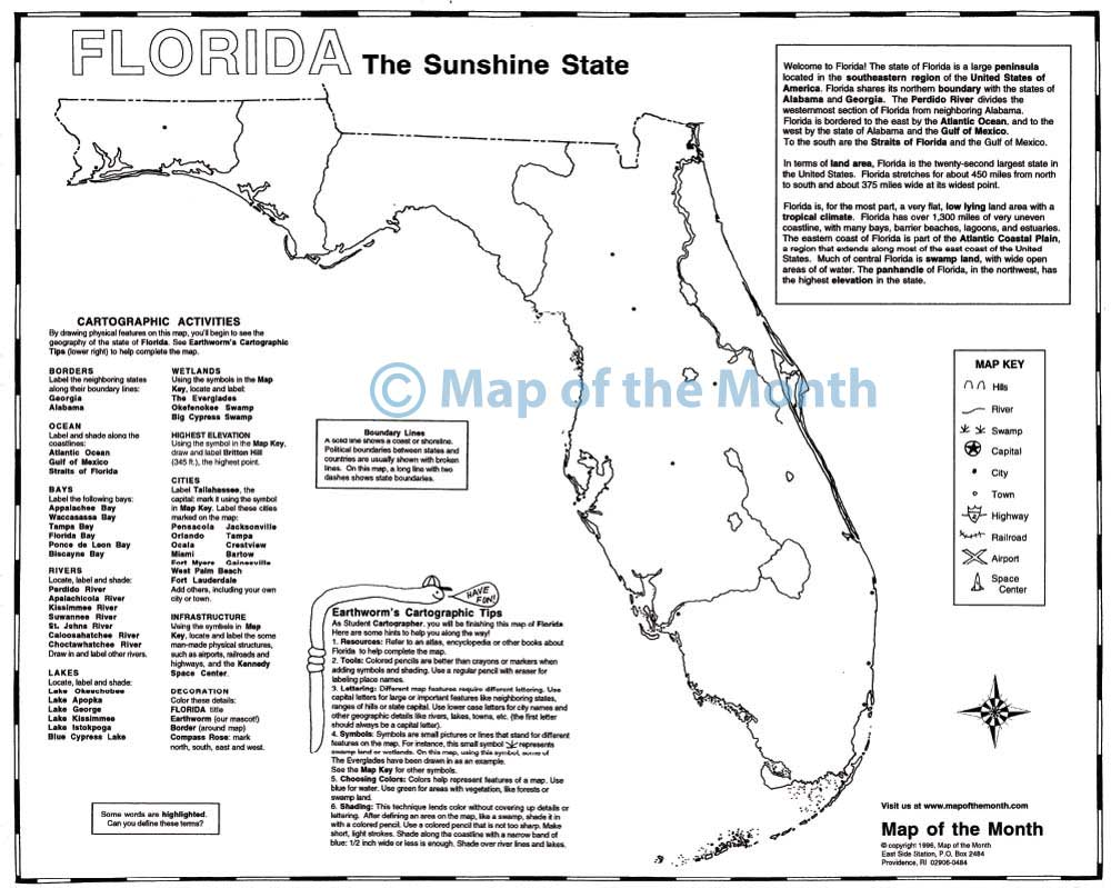 Florida Rivers Map.Florida Map Blank Outline Map 16 By 20 Inches Activities Included