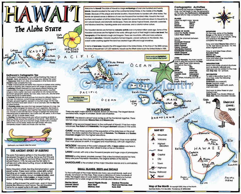 worksheet Hawaii Worksheets hawaii map blank outline 16 by 20 inches activities included map