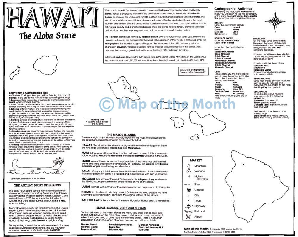 Hawaii map - Blank outline map, 16 by 20 inches, activities included