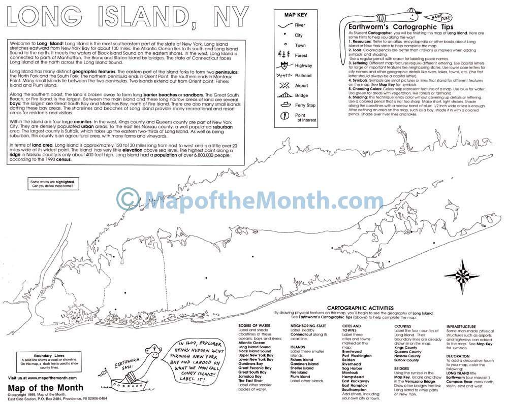 Long Island NY Map Maps for the Classroom
