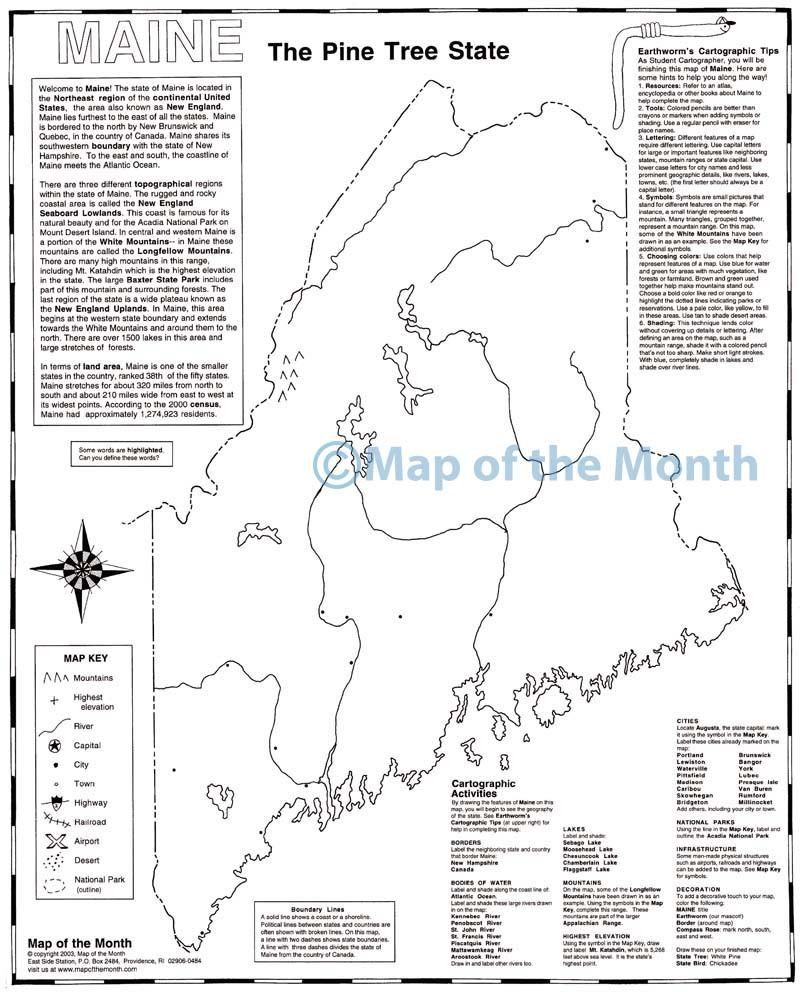 Maine Map Maps For The Classroom - Maine map