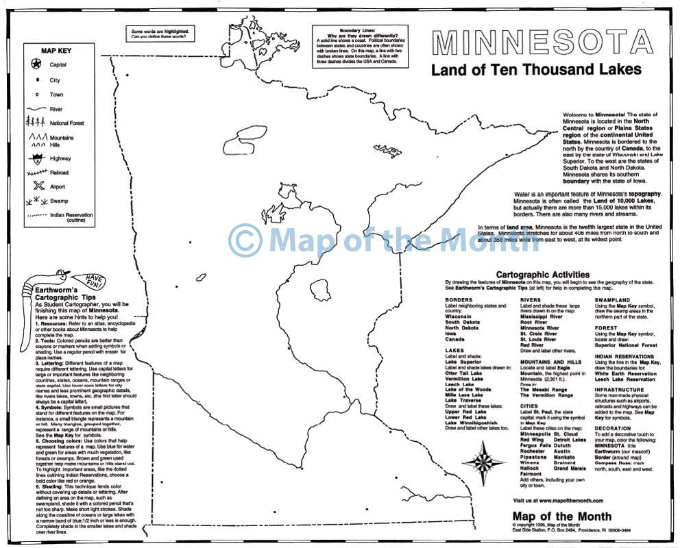 Minnesota map Blank outline map 16 by 20 inches activities included