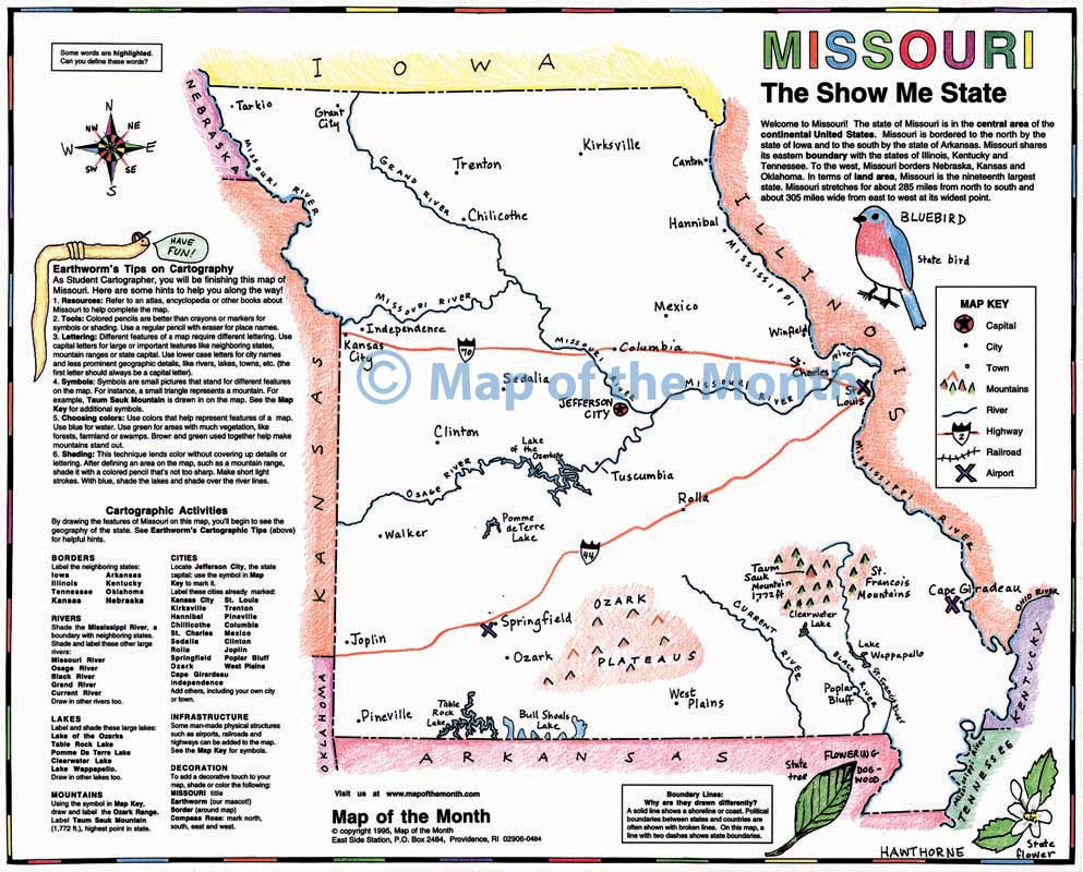 Missouri Map Blank Outline Map 16 By 20 Inches Activities Included