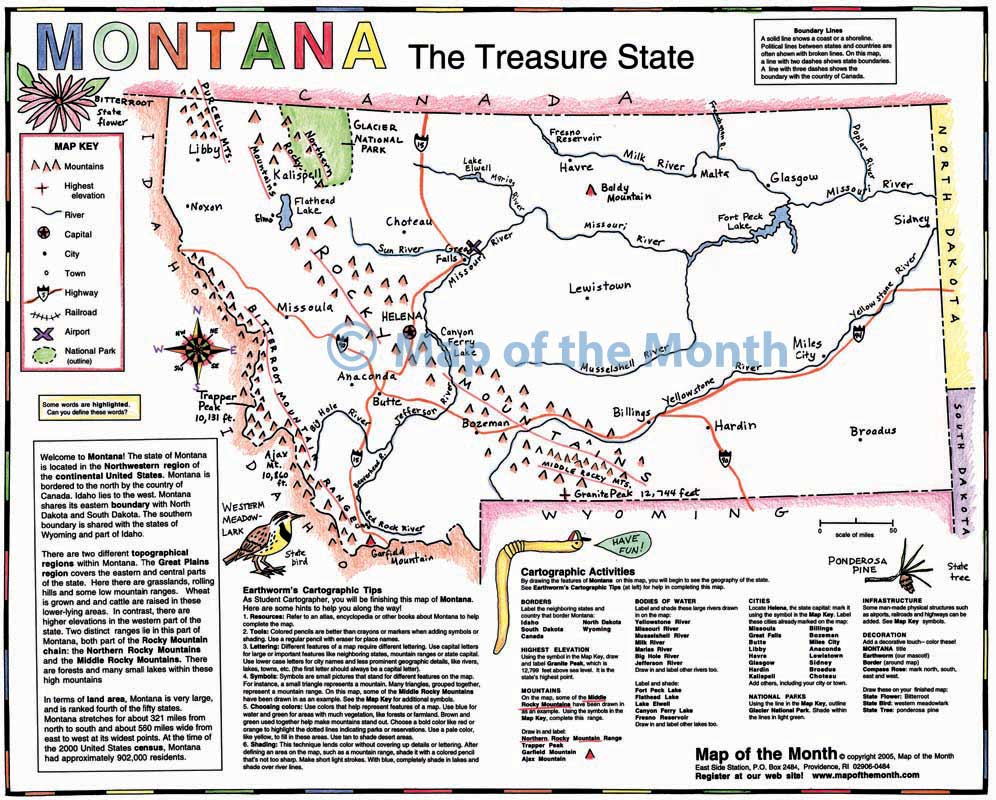 montana map blank outline map 16 by 20 inches activities included