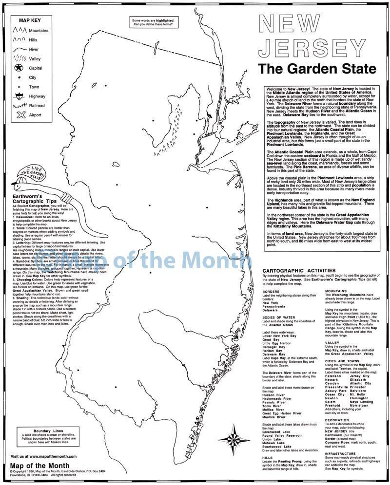New Jersey Map Maps For The Classroom - New jersery map