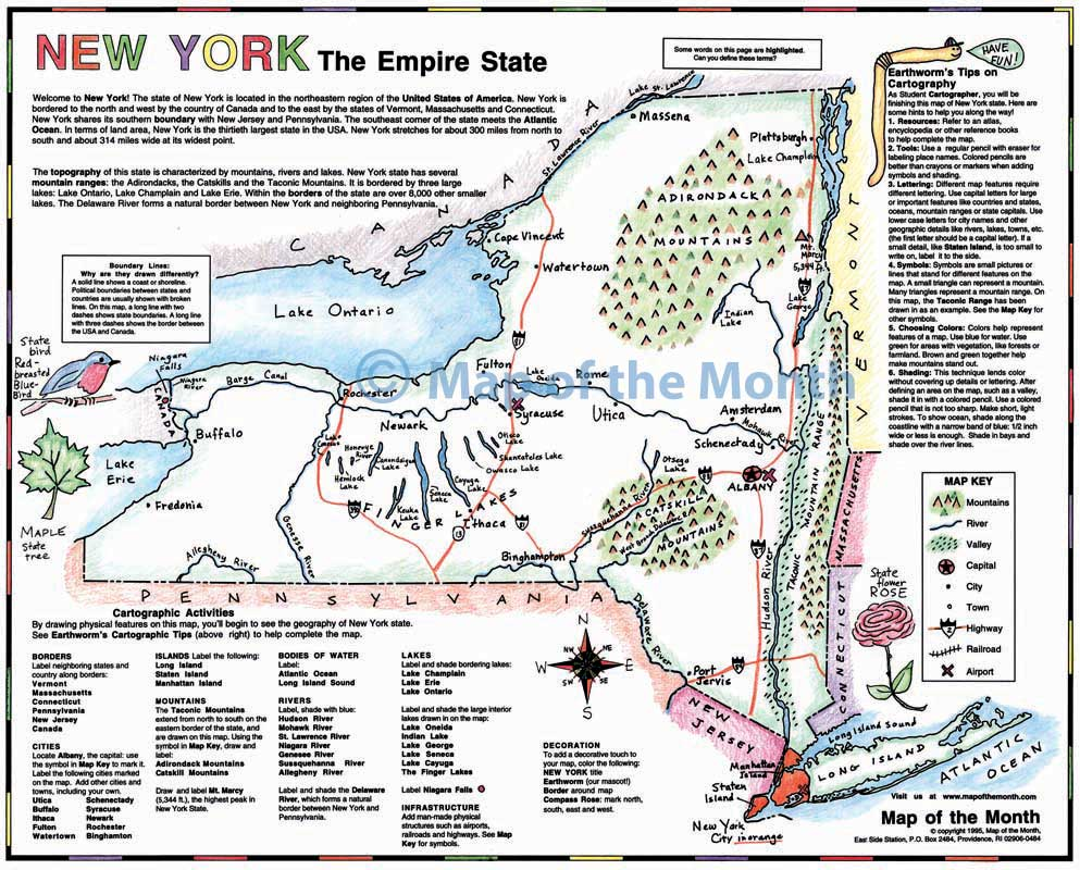 New York Map Maps For The Classroom - New york map geography