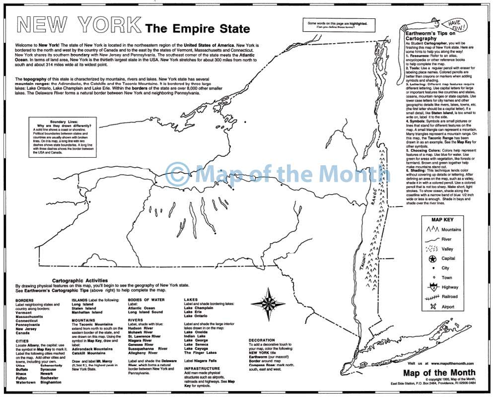 New York Map Maps For The Classroom - New york map key