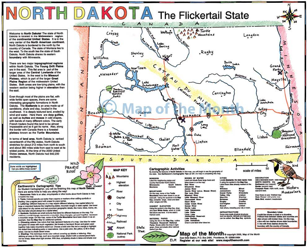 North Dakota map Blank outline map 16 by 20 inches activities
