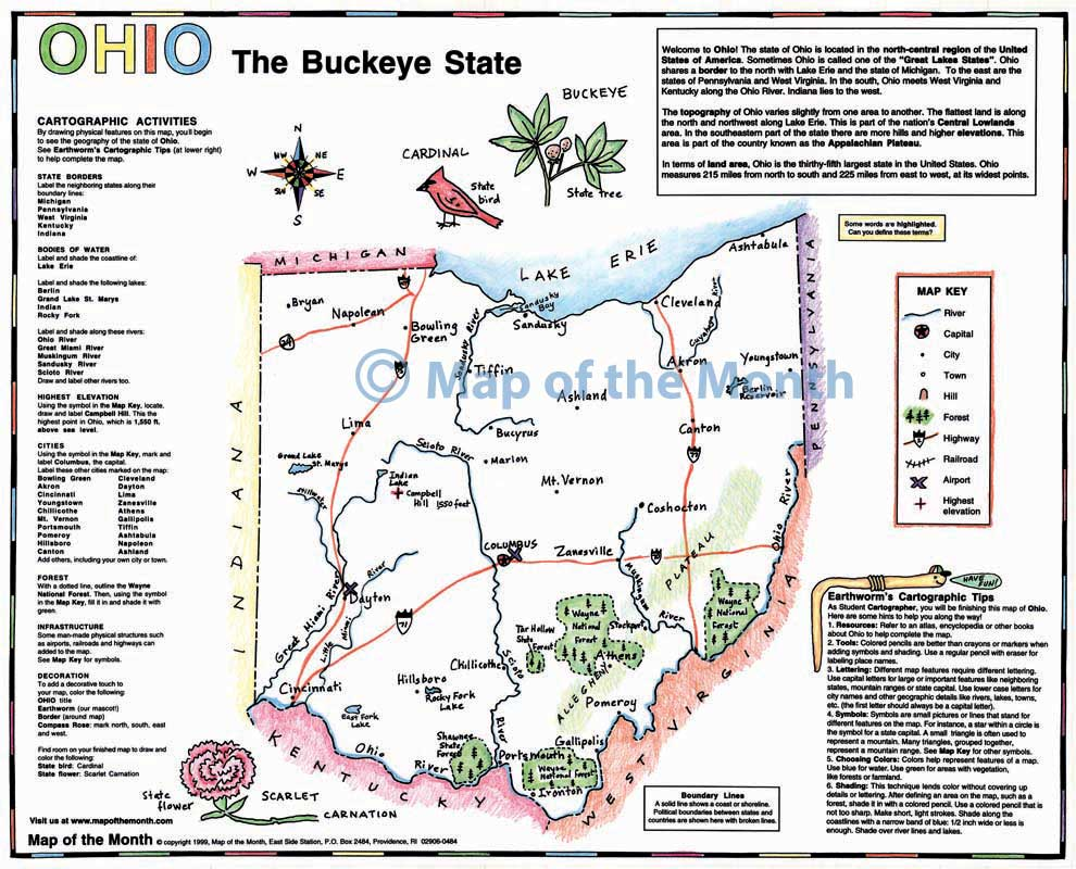 Ohio Map Maps For The Classroom - Bodies of water map us