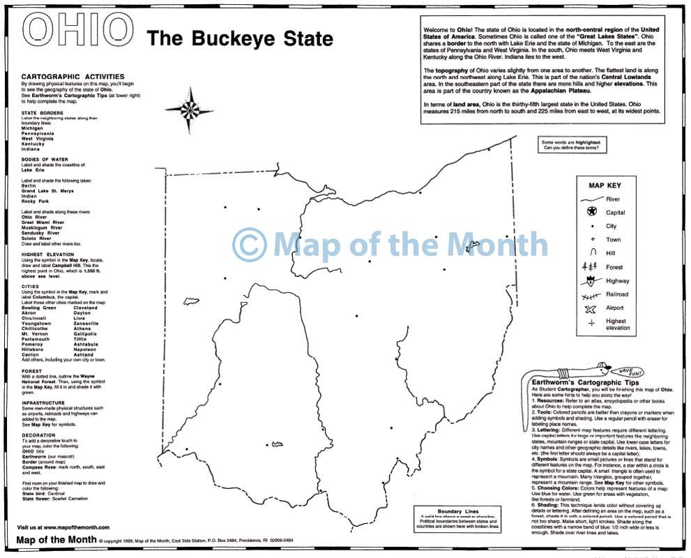 Ohio map blank outline map 16 by 20 inches activities included ohio map buycottarizona