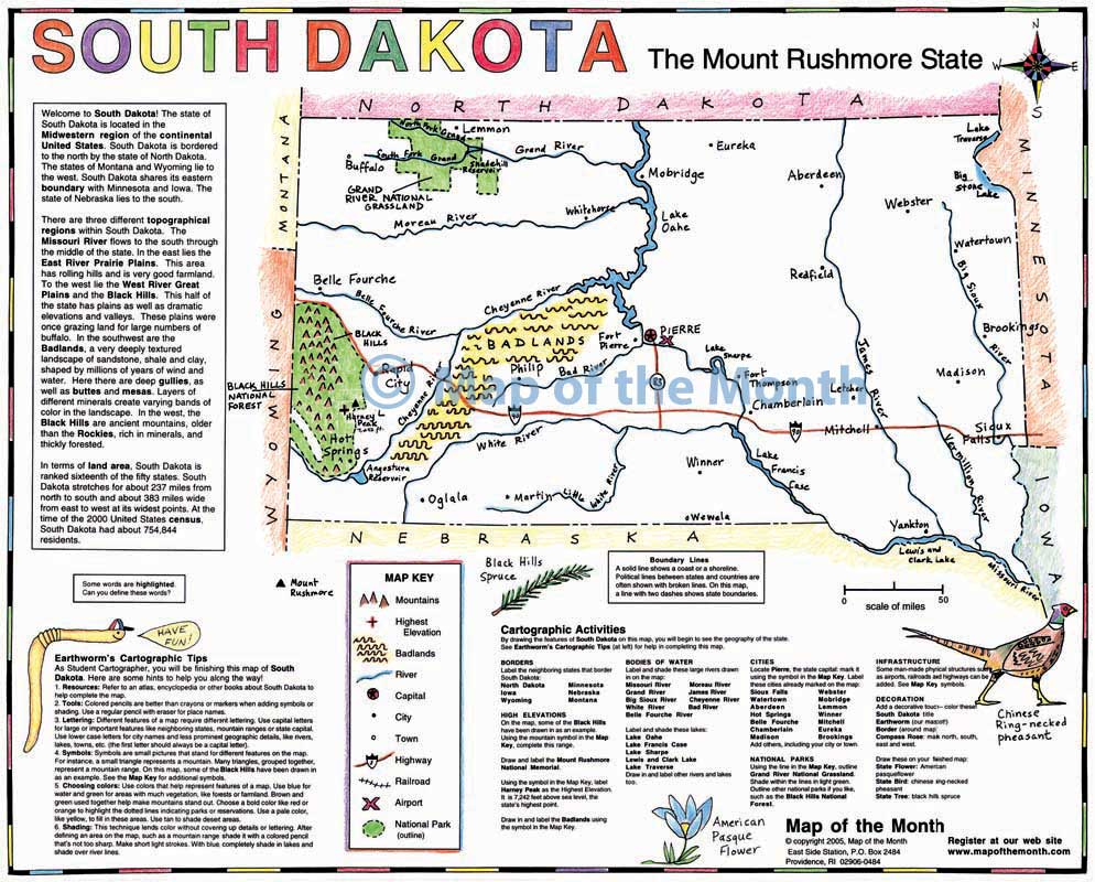 South Dakota Map Blank Outline Map By Inches Activities - Map of south dakota