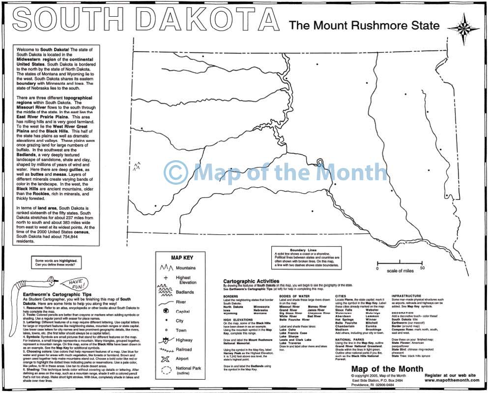 South Dakota map Blank outline map 16 by 20 inches activities