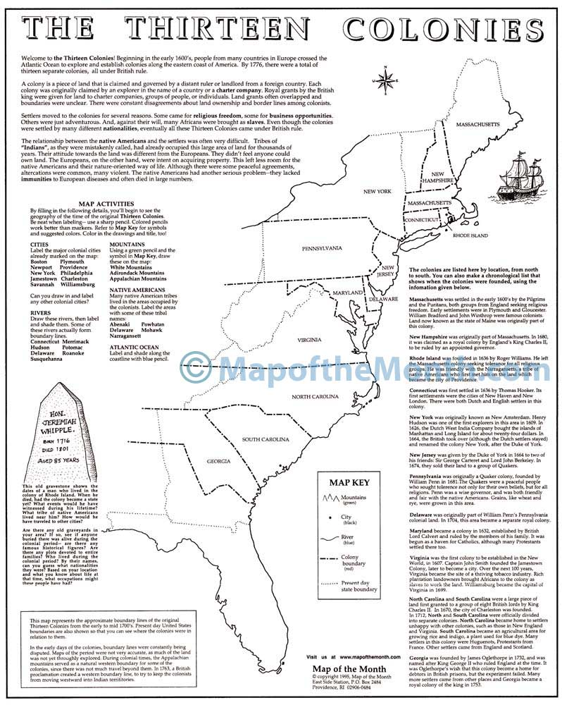The Thirteen Colonies Map - Maps for the Classroom
