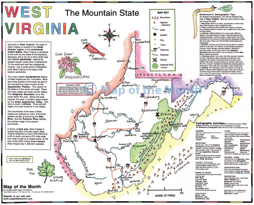 West Virginia map Blank outline map 16 by 20 inches activities