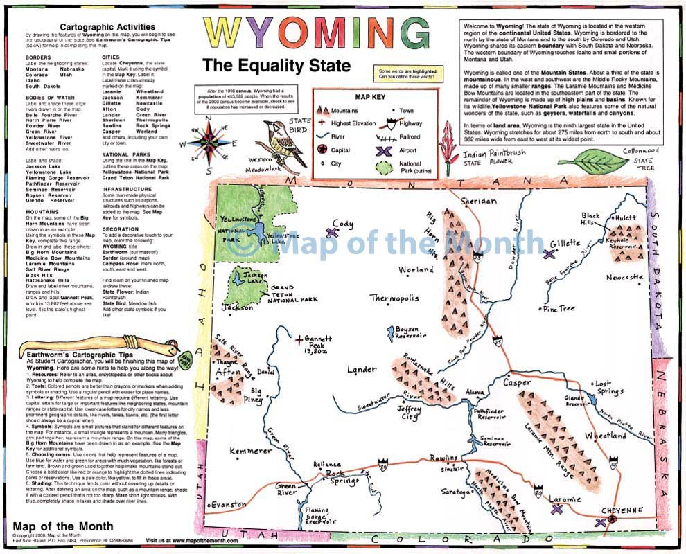 WYOMING map - Blank outline map, 16 by 20 inches, activities included