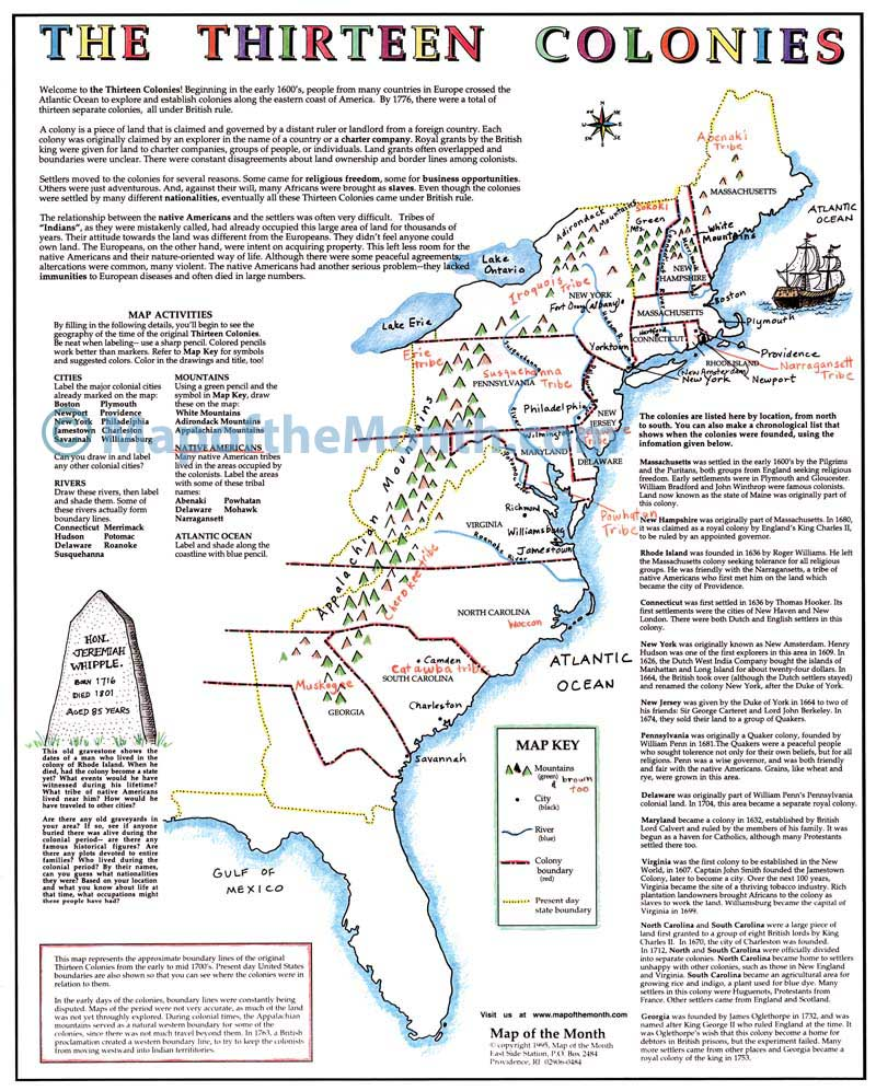 Thirteen Colonies Map The Thirteen Colonies Map   Maps for the Classroom Thirteen Colonies Map