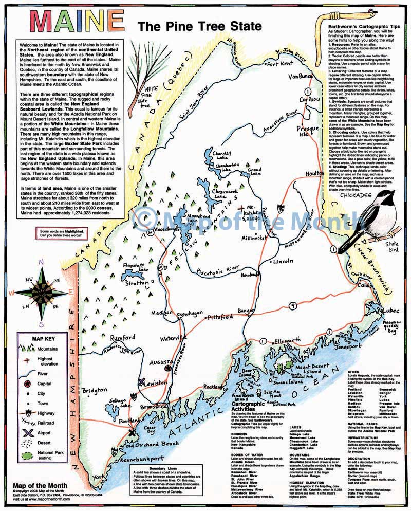 Maine Map Maps for the Classroom