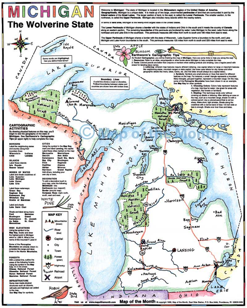 Michigan Map  Maps For The Classroom