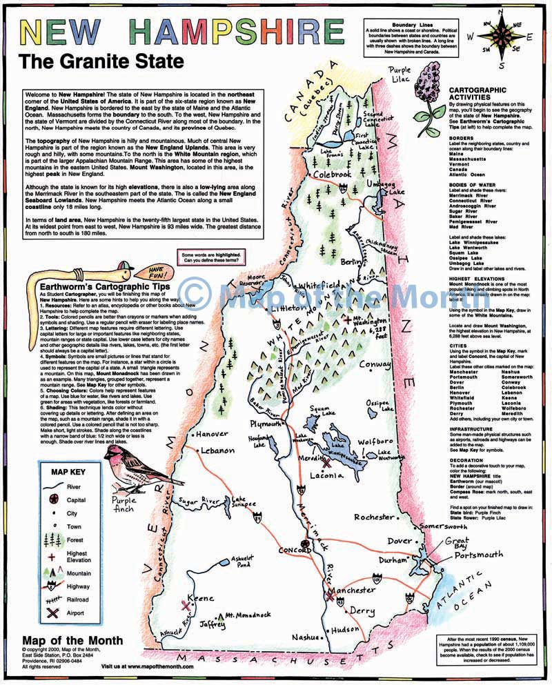 New Hampshire Map Maps For The Classroom - State of new hampshire map
