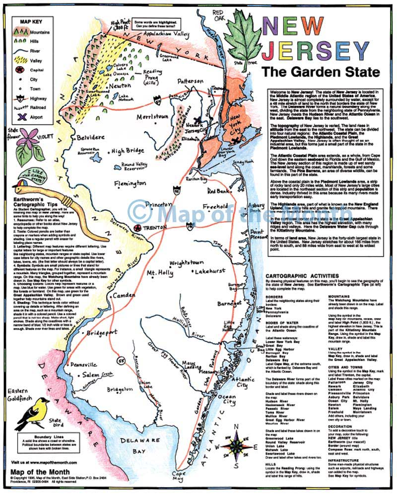 New Jersey map - Blank outline map, 16 by 20 inches, activities included