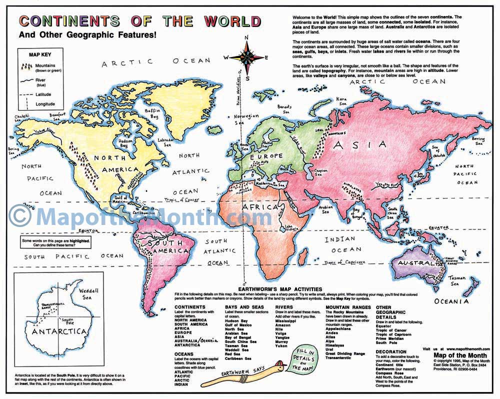 Continents of the World Map