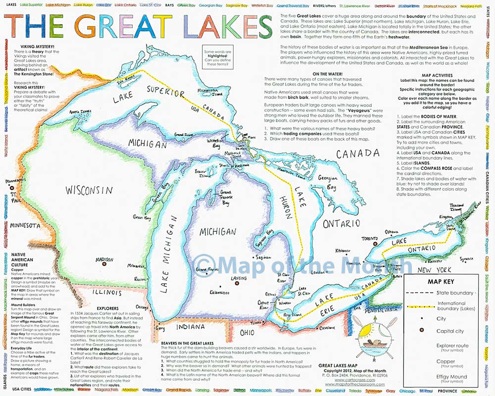 Great Lakes Map Maps For The Classroom - The great lakes on us and canada map