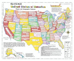hand colored usa map poster with states, capitals and mottos