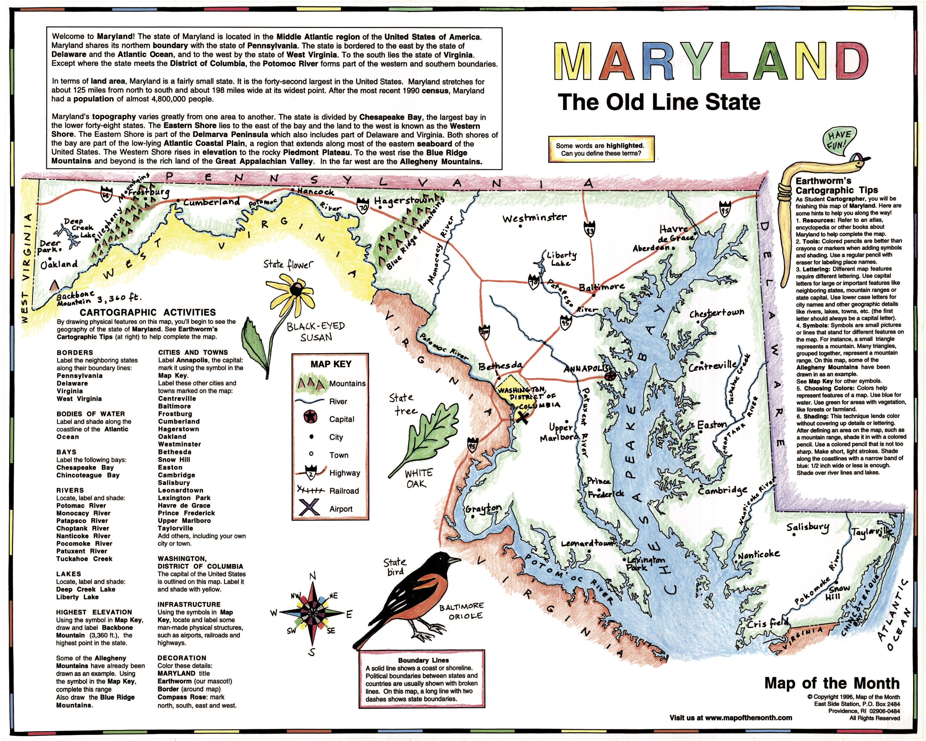 Studying With Your State Map Maps For The Classroom - Bodies of water map us