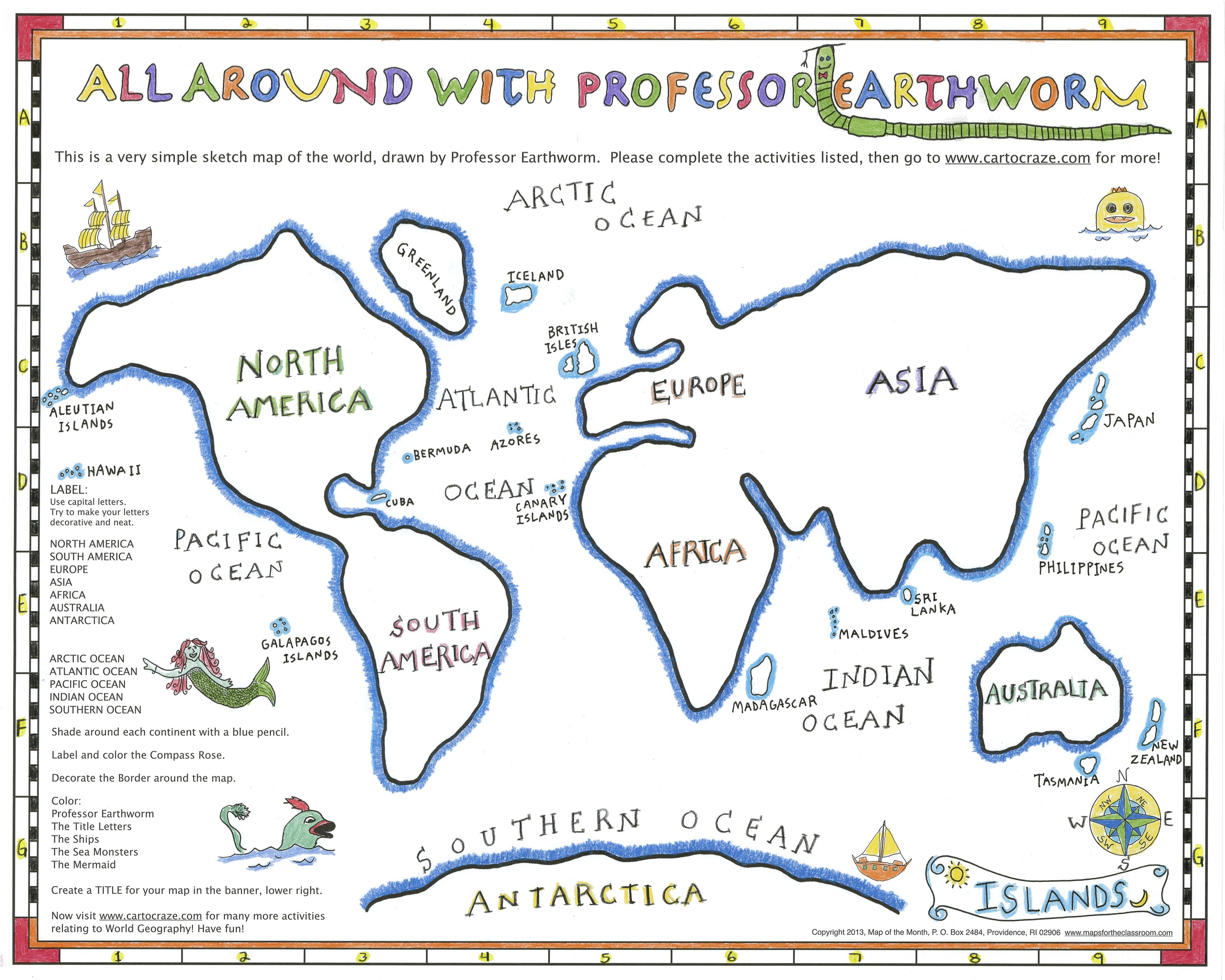 Geography with a simple sketch map maps for the classroom after these large geography details are drawn in islands mountains deserts and rivers students can sketch in any other details of the world they would gumiabroncs Images
