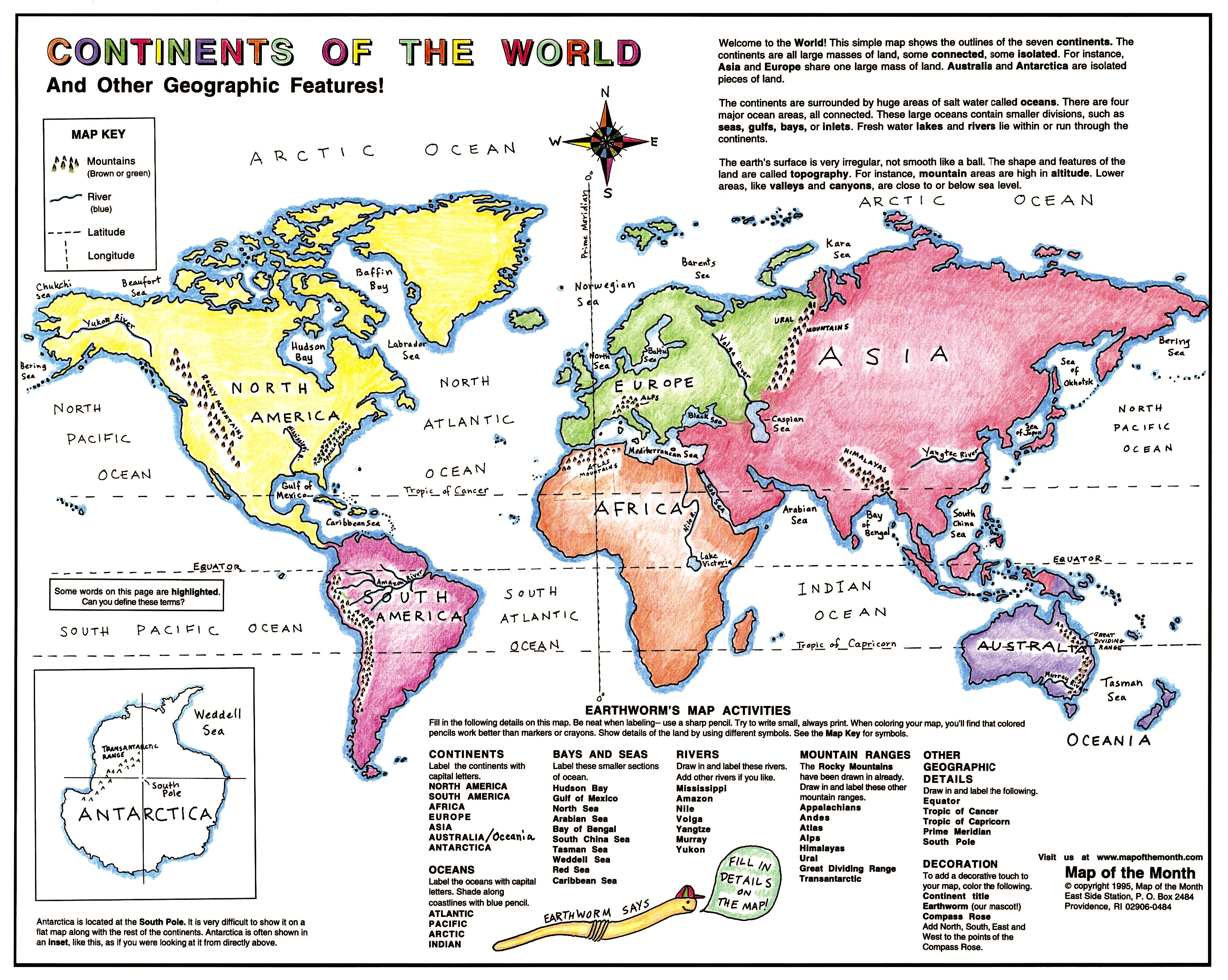 Learning continent basics maps for the classroom other important lines continents small brochure gumiabroncs Images