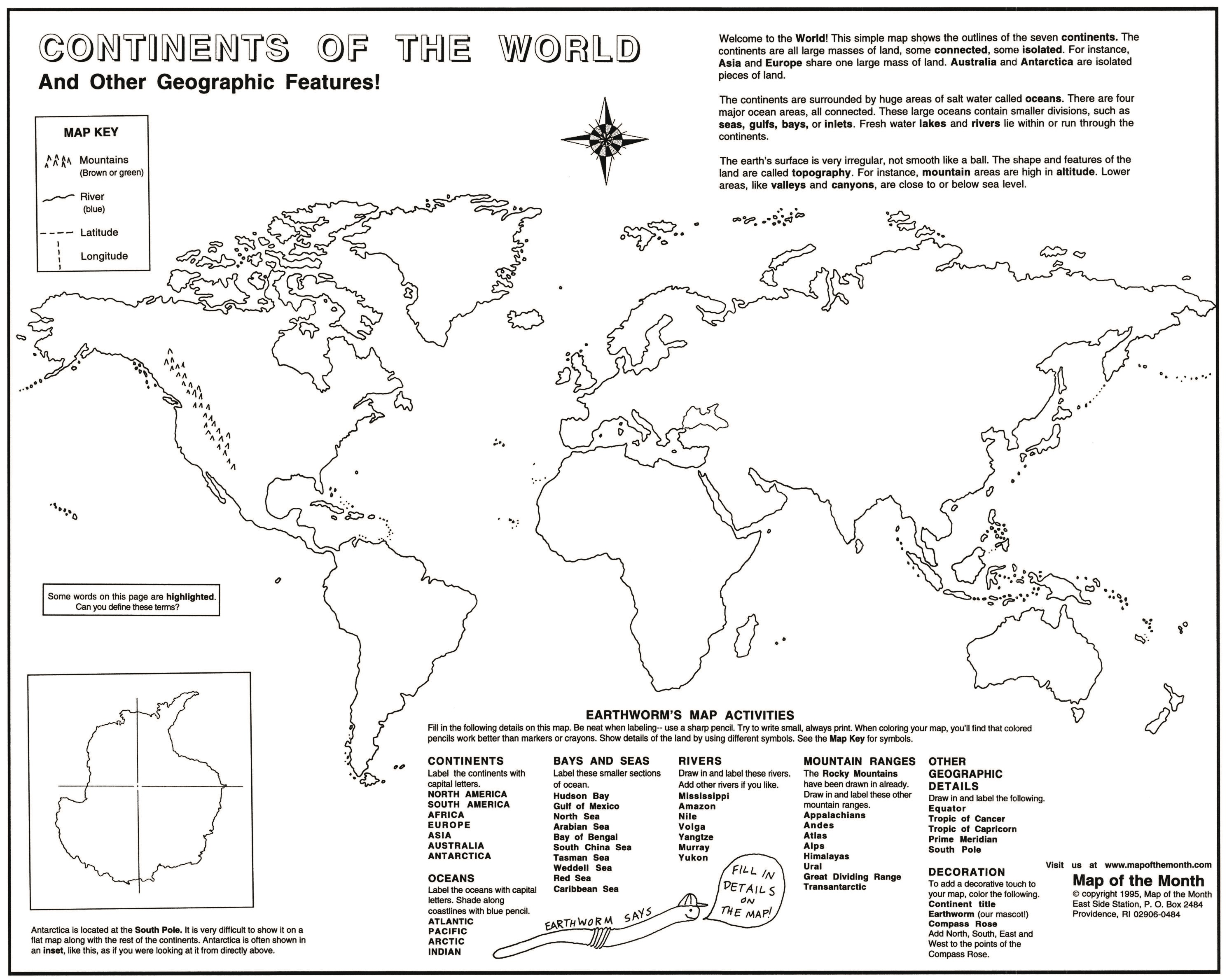 Learning continent basics maps for the classroom this large map 16 x 20 shows the outlines of all the continents with antarctica shown separately in an inset students label continents first gumiabroncs Images