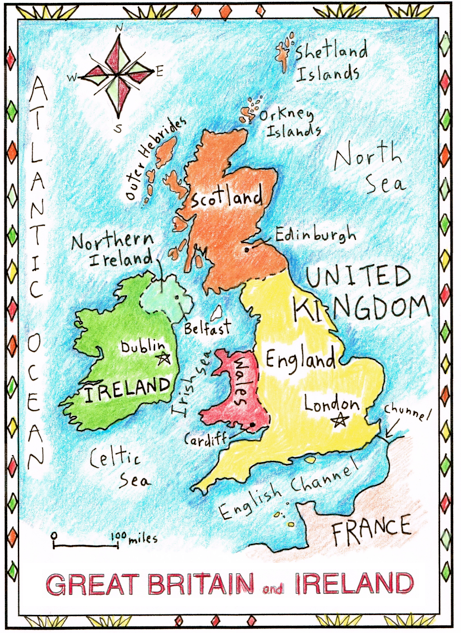 Map Of France Facts.Easy And Fun British Isles Basic Facts Maps For The Classroom