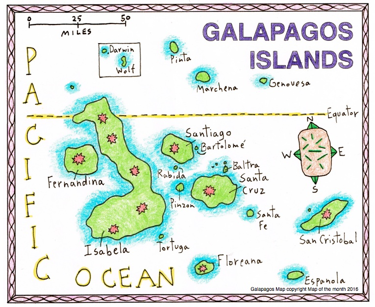 Animal life in the Galapagos Islands - Maps for the Classroom
