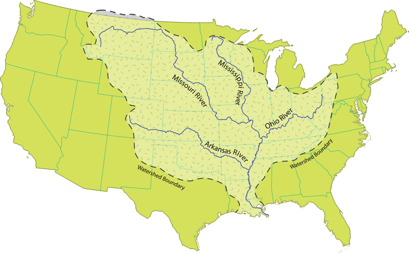 mississippi river watershed map mississippi river watershed map