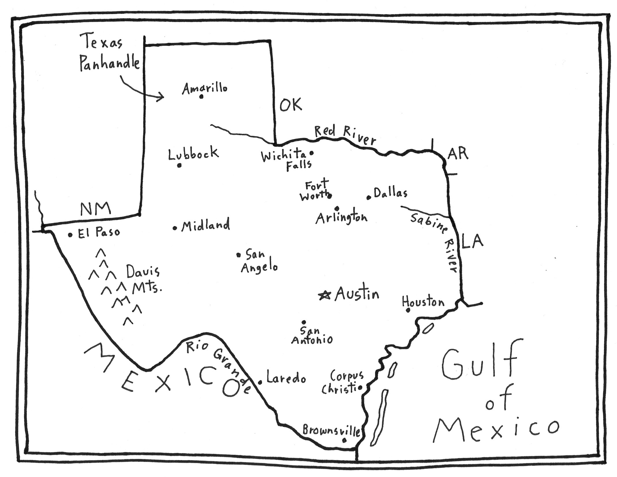More fun with a SKETCH MAP of TEXAS - Maps for the Clroom Map I Can Draw On on easy to draw canada map, draw area on map, how can you draw a map,