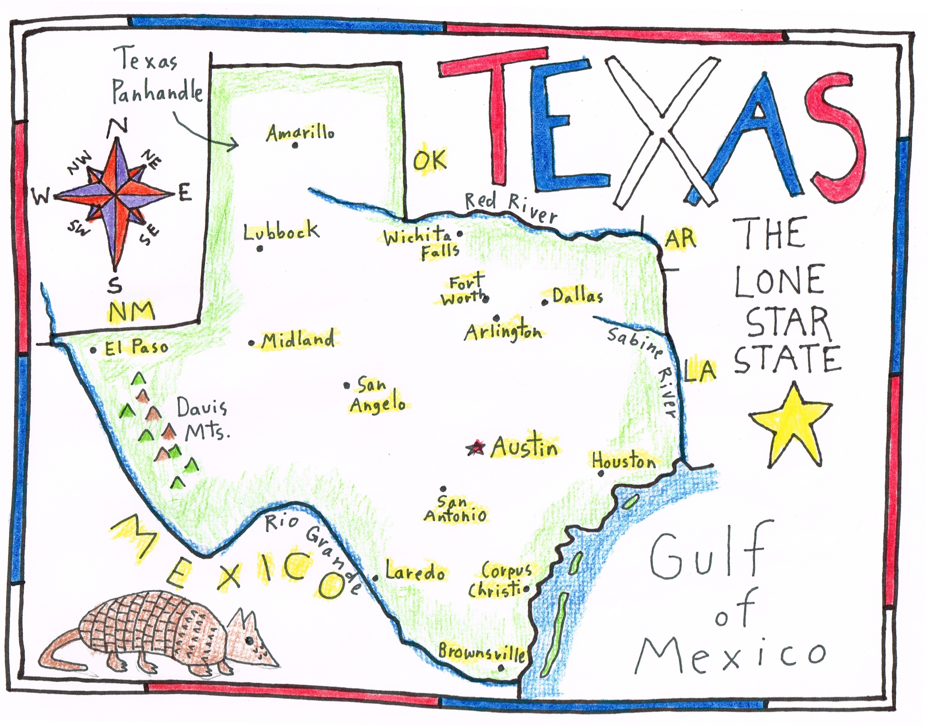 More fun with a SKETCH MAP of TEXAS - Maps for the Classroom