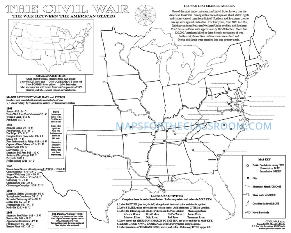 Civil War Map Maps For The Classroom - Us-civil-war-map-of-battles